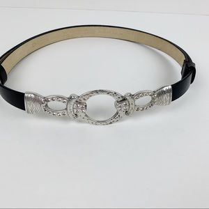 Chico's Rhinestone Silver Black Leather Belt A41